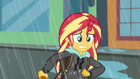 Sunset Shimmer racing through the rain SS6