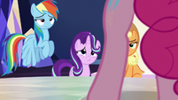 Dash, AJ, and Starlight look at Pinkie S6E1