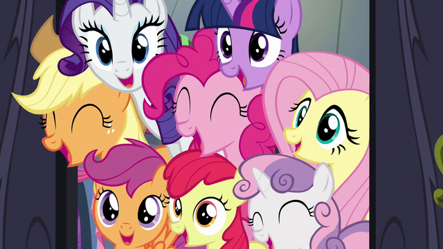 File:Main five and CMC surprise Rainbow Dash S6E7.png