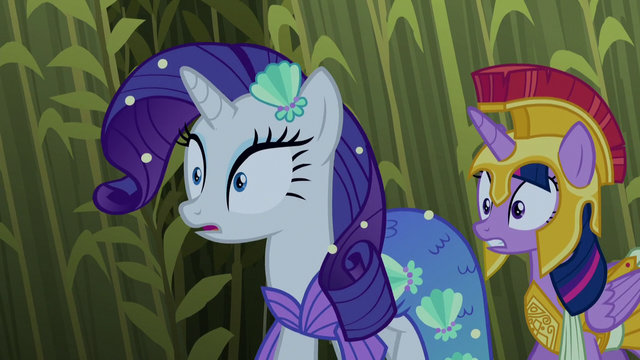 File:Rarity and Twilight hear a strange sound S5E21.png