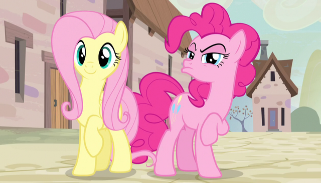 File:Fluttershy happy and Pinkie distrusting S5E1.png