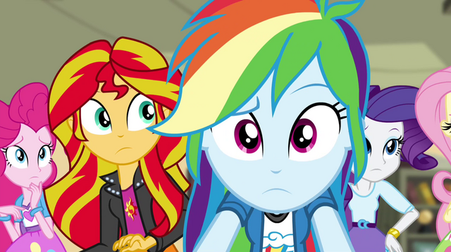 File:Pinkie, Sunset, Dash, and Rarity concerned EG2.png