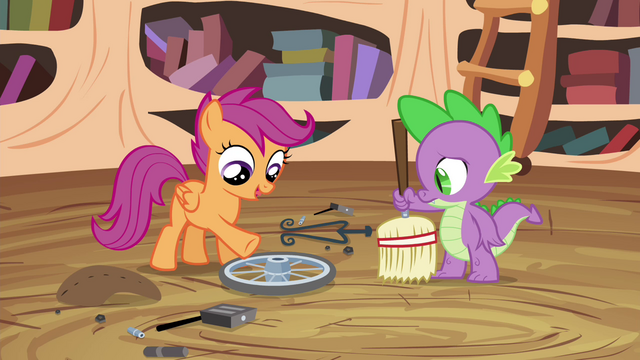 File:Scootaloo points at the wheel S4E15.png