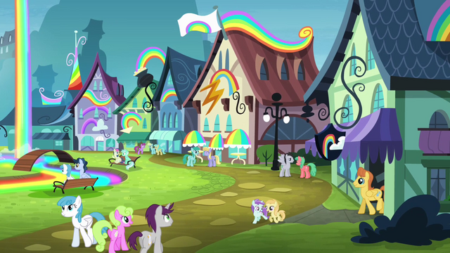 File:Ponies at the Rainbow Falls train station S4E10.png