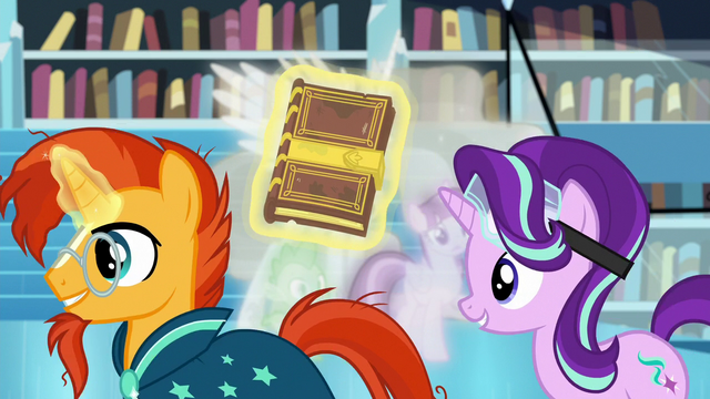 File:Starlight and Sunburst walk past Twilight, Celestia, and Spike S7E1.png