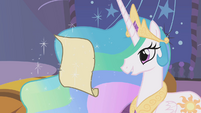 Princess Celestia reads Twilight's letter S01E12