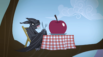 Bat with an apple on a table S4E07