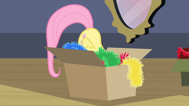 File:Fluttershy hiding in the box S02E11.png