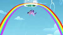 Twilight, Spike, and Starlight get sucked into the portal for one last time S5E26