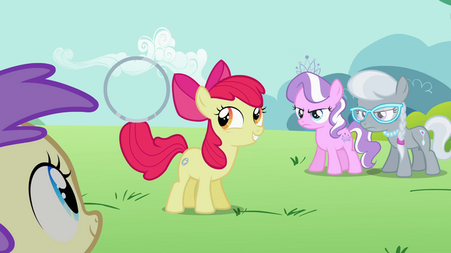 File:Apple Bloom holds the hoop with the tip of her tail S2E06.png