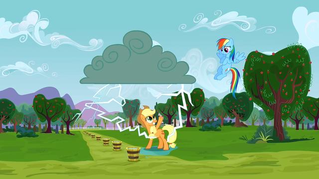 File:Applejack about to get struck by lightning S3E8.png