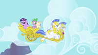 Spike talking to Twilight on chariot 2 S1E01