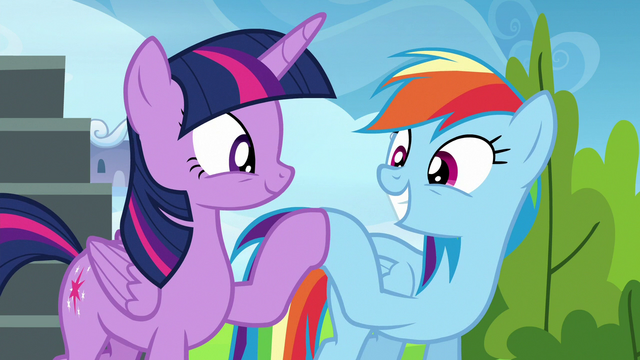 File:Twilight and Rainbow hoof-bump of victory S6E24.png
