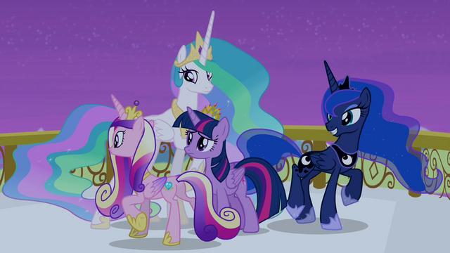 File:Celestia, Luna, and Cadance circling around Twilight S4E25.png