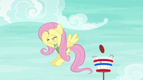 Fluttershy cowers under the flying softball S6E18