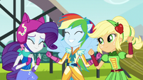 Rarity, Rainbow, and Applejack happy EG3