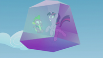 Twilight and Spike's crystal prison falls out of the sky S5E25