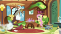 Deflating chair whizzes around Fluttershy and Discord S7E12.png