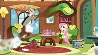 Deflating chair whizzes around Fluttershy and Discord S7E12