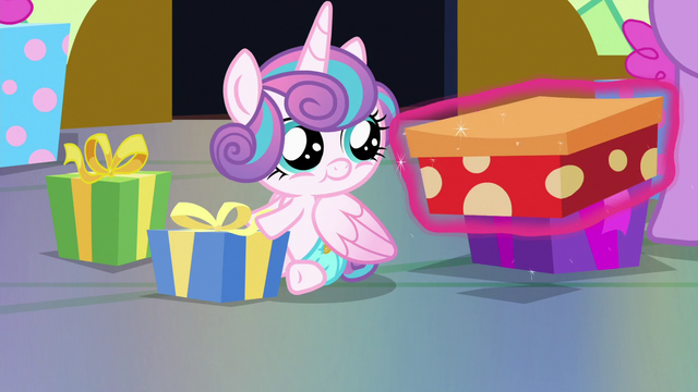 File:Flurry Heart looking at a gift box S7E3.png