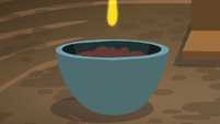 A droplet about to be dropped onto the bowl of soil S6E4