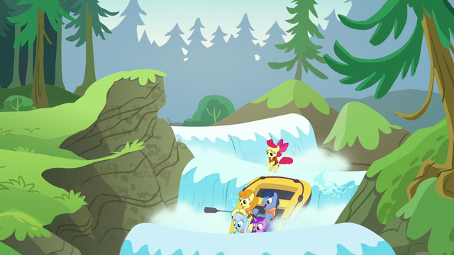File:Apple Bloom and ponies go down a waterfall S6E4.png