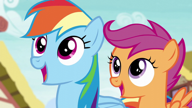 File:Rainbow and Scootaloo watch Spitfire's landing S6E7.png