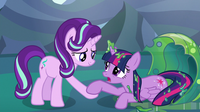 File:Starlight Glimmer helps Twilight to her hooves S6E26.png