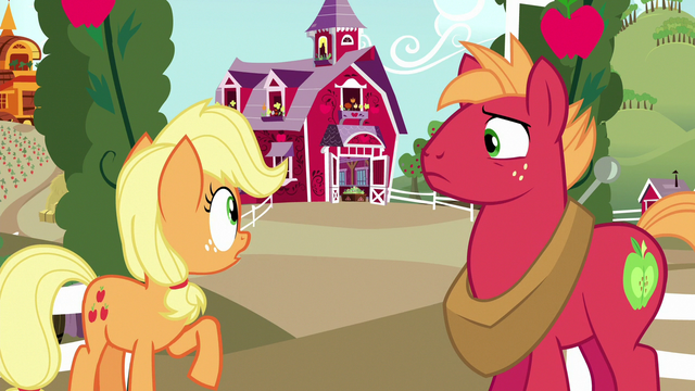 File:Young Applejack looking toward the barn S6E23.png