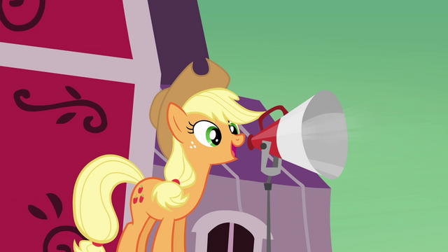 File:Applejack speaking through the microphone S3E08.png