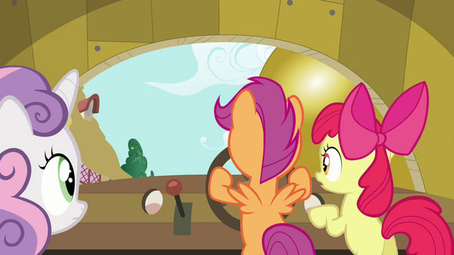 File:Sweetie Belle and Apple Bloom standing by Scootaloo S3E4.png
