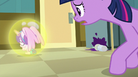 Flurry Heart floats away from Twilight Sparkle S7E3