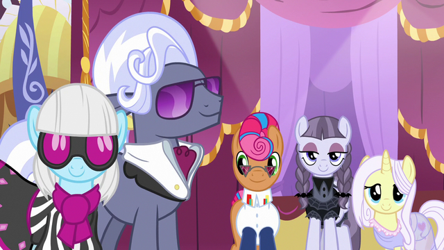 File:Photo Finish, Hoity, and contest ponies smile at Rarity S7E9.png