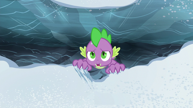 File:Spike hanging helplessly over the chasm S6E16.png