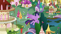 Twilight Sparkle flies back down to Ponyville S7E14.png