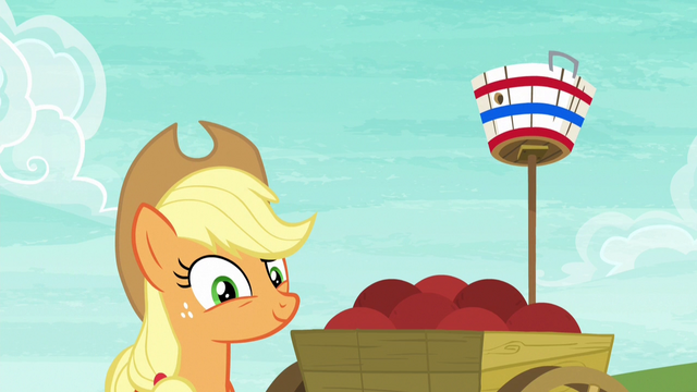 File:Applejack pleased with Pinkie Pie's shot S6E18.png