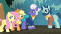 Applejack and Fluttershy meet director pony S6E20.png