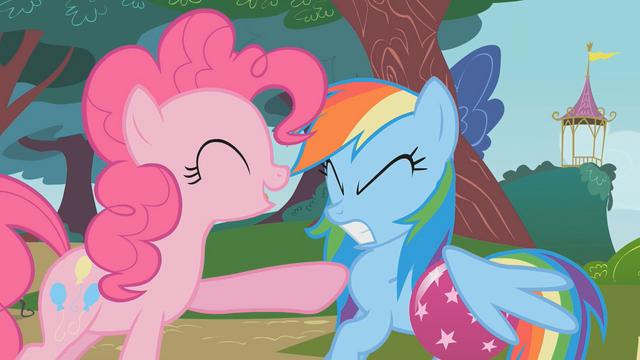 File:Pinkie Pie pokes Rainbow Dash S1E7.png