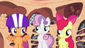 Cutie Mark Crusaders about to leave library S4E15.png