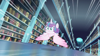 Flurry Heart flying through the library S6E2