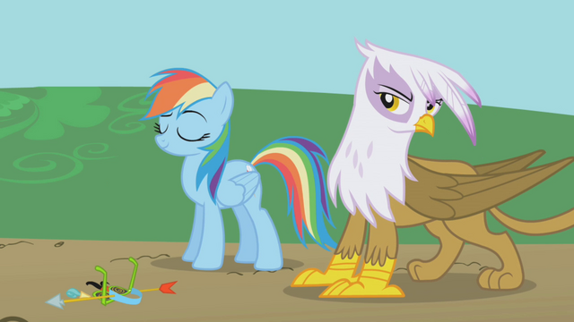 File:Rainbow Dash and Gilda nonchalant S1E05.png