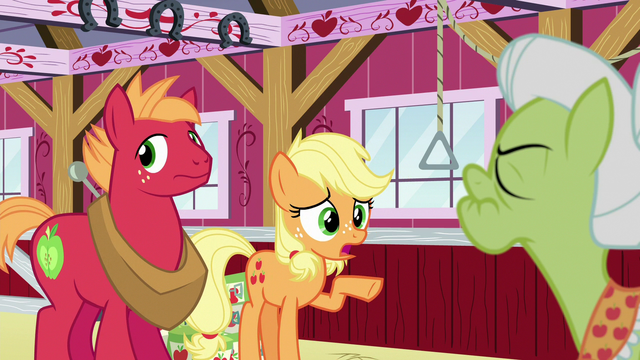 """File:Young Applejack """"I get what you're sayin'"""" S6E23.png"""