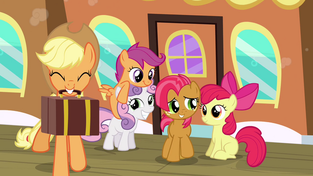File:Applejack, CMC and Babs Seed S3E04.png