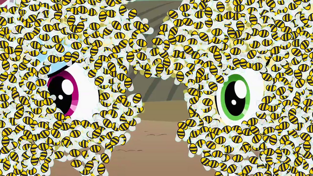 File:Applejack and Rainbow Dash covered in bees S4E3.png