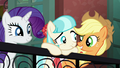 Applejack and Rarity cheer up Coco S5E16.png