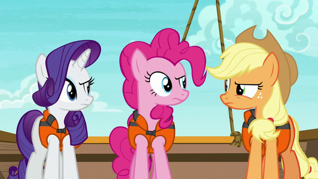 File:Rarity, Pinkie, and AJ looking skeptical S6E22.png