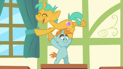 Snips and Snails balancing on desk S4E05