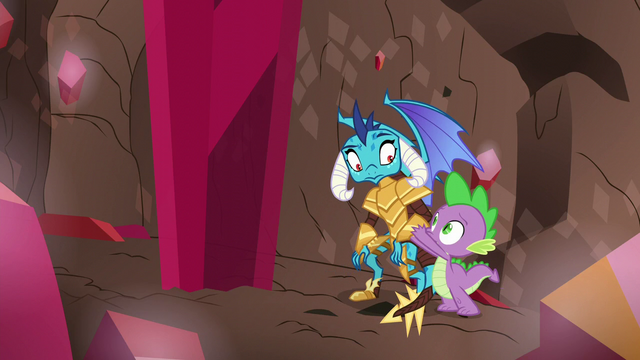 File:Spike helps Princess Ember up S6E5.png