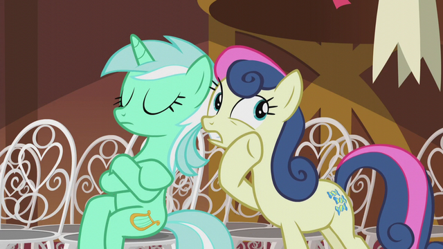 File:Sweetie Drops whispering to Lyra S5E9.png