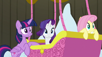 Twilight, Rarity, and Fluttershy hear Prince Rutherford S7E11